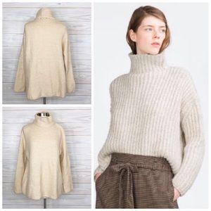 Zara Knit Oversize Sweater Turtleneck Slouchy Sz S